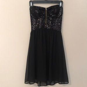 Black Sequin Chiffon Mini Dress with Zipper Detail